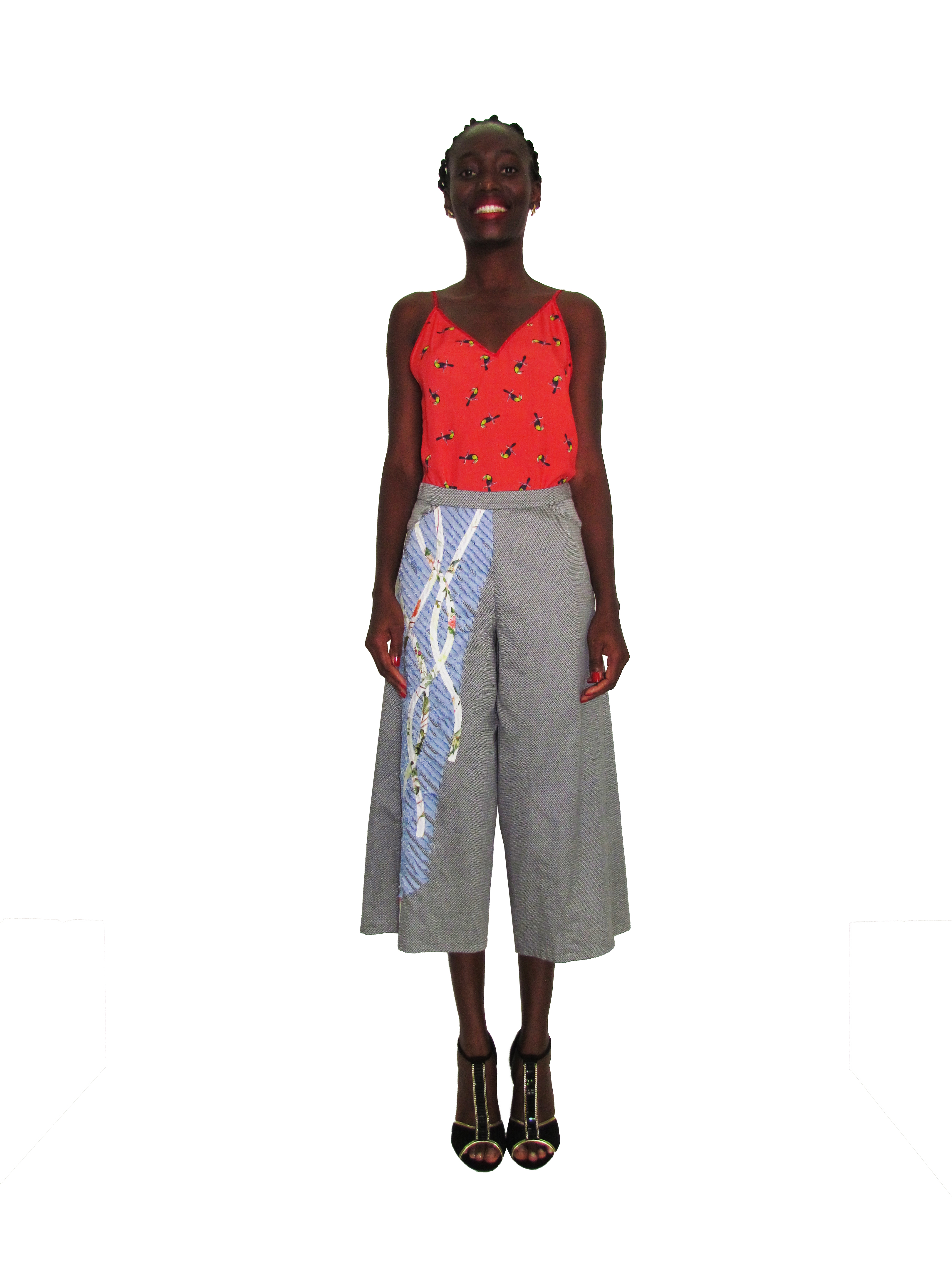 SP 1704 - Cropped Pants with Collage