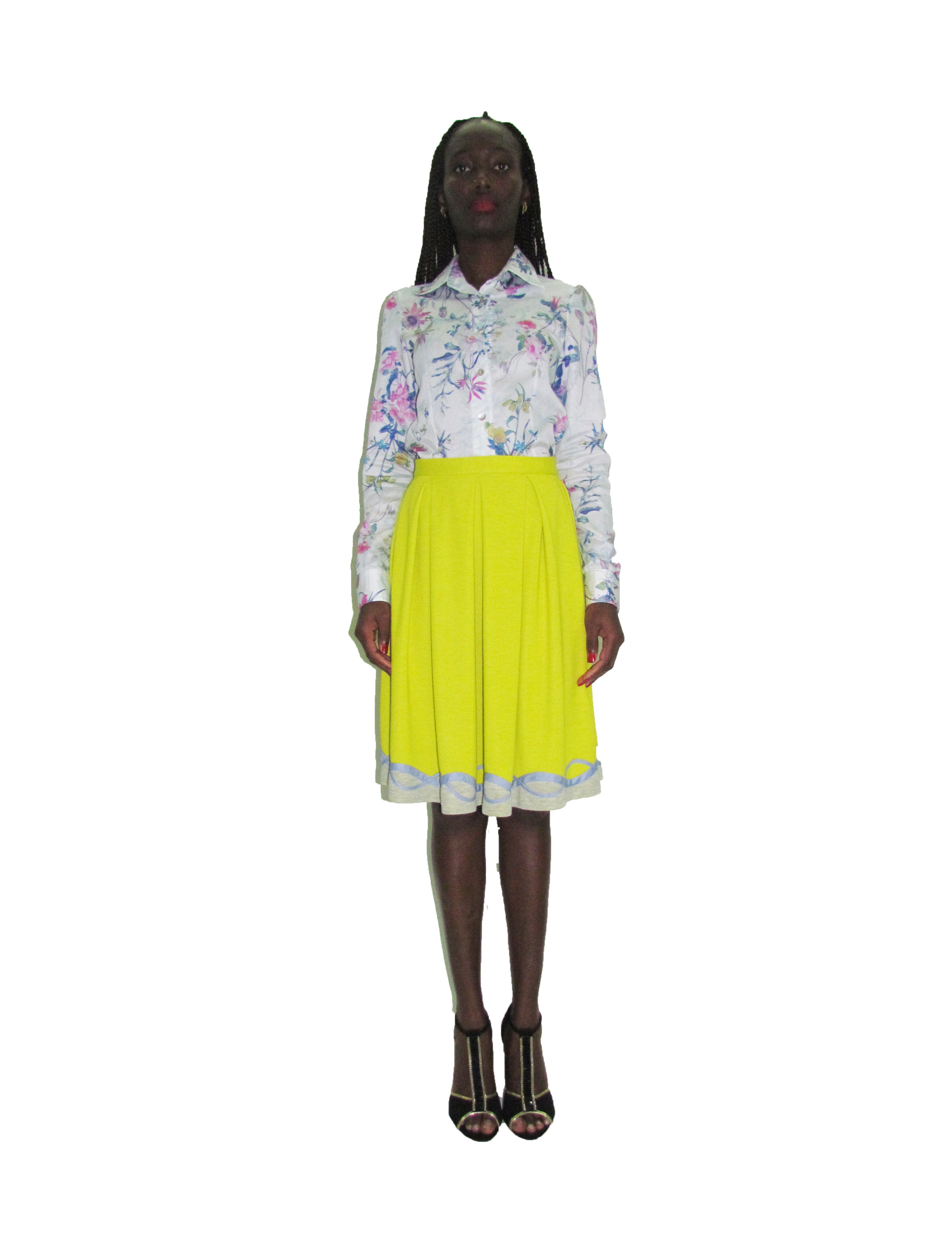 SP 1721 - Floral fitted Shirt | SP 1722 - Pleated Skirt with Tapped Hem